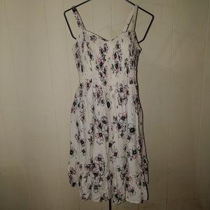 Torrid Plus 0 Cream Floral Smocked Tank Dress